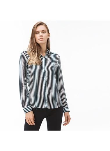 Lacoste Kadın Çizgili Gömlek CF1904.04B Yeşil
